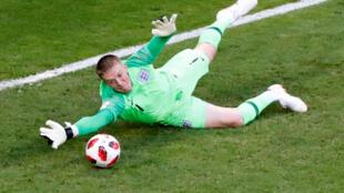 Man of the match: England's Jordan Pickford makes a save