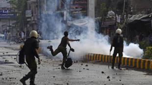 Esta semana hubo varias manifestaciones antifrancesas en Lahore, Pakistán.