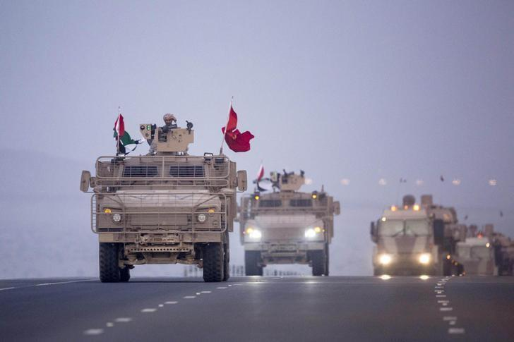 UAE military vehicles travel back from Yemen in 2015