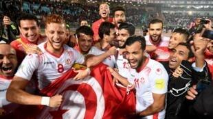 La joie des Aigles de Carthage après leur qualification pour le Mondial 2018 en Russie.