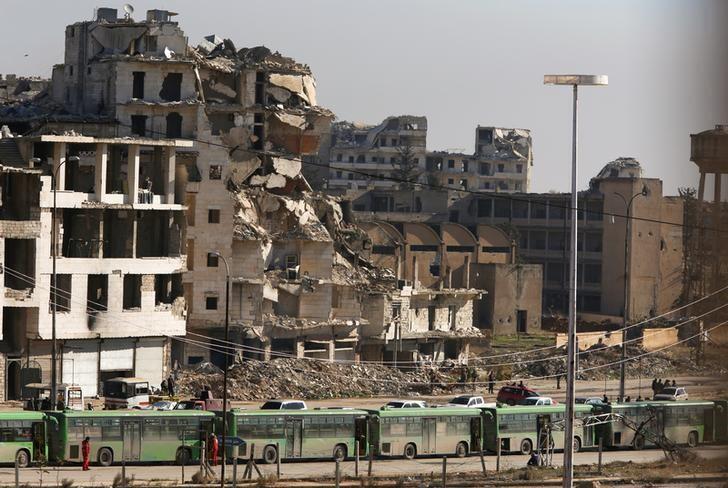 Một góc thành phố Aleppo, thành trì của phe nổi dậy một thời nay là đống đổ nát dưới sự kiểm soát của quân đội chính phủ.