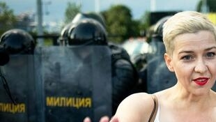 L'opposante biélorusse Maria Kolesnikova lors d'une manifestation à Minsk, le 30 août