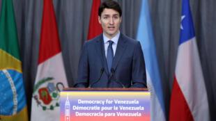 Le Premier ministre canadien Justin Trudeau lors de la conférence consacrée au Venezuela, à Ottawa, le 4 février 2019.