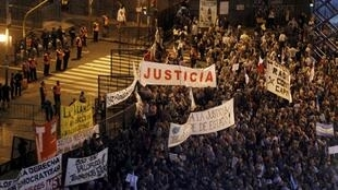 Oposição argentina protestou contra reforma judicial diante do Congresso,24 de abril de 2013.