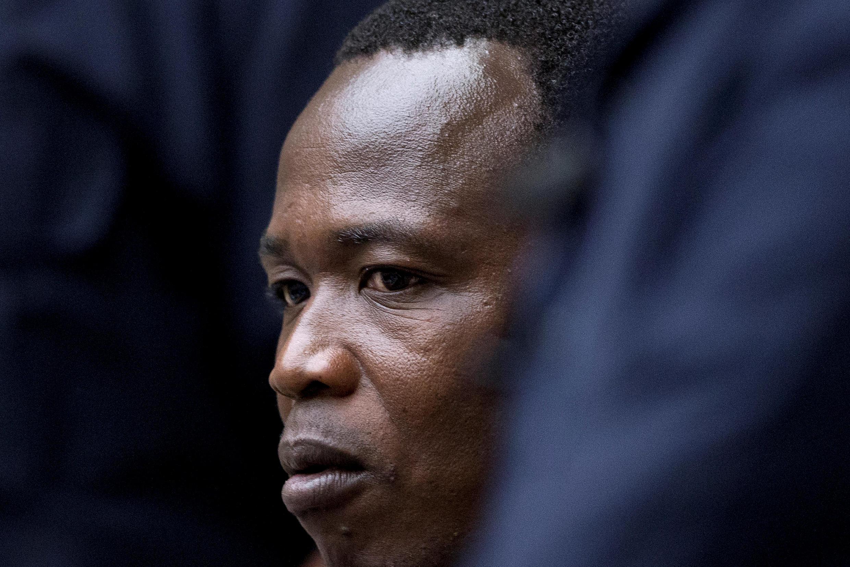 Aliyekuwa mpiganaji wa kundi la waasi wa LRA, Dominic Ongwen, akiwa mbele ya mahakama ya ICC