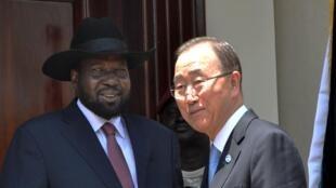 Shugaba Salva Kiir na Sudan ta Kudu da sakataren MDD Ban-Ki-moon à birnin Juba.