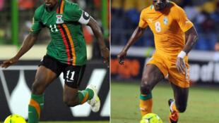 Le Zambien Christopher Katongo (à gauche) et l'Ivoirien salomon Kalou (à droite).