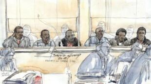 Les six pirates somaliens accusés d'avoir pris en otages le couple français Delanne sur leur bateau le « Carré d'As » en 2008, ont été interrogés mercredi 23 novembre 2011 à la cour d'assises de Paris.