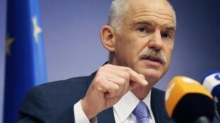 O Primeiro Ministro grego George Papandreou, durante a reunião de cúpula de Bruxellas.