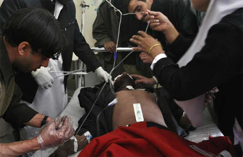 A victim of Monday's blast is treated in Quetta hospital