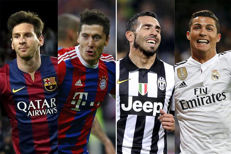 Lionel Messi, Robert Lewandowski, Carlos Tevez na Cristiano Ronaldo (kutoka kushoto kwenda kulia).
