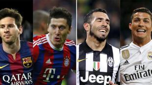 Từ trái sang phải là 4 đại diện tiêu biểu cho bán kết C1 2015 : Lionel Messi (Barça), Robert Lewandowski (Bayerrn), Carlos Tevez (Juventus), Cristiano Ronaldo (Real).