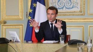 O presidente Emmanuel Macron no Eliseu no passado dia 8 de Abril.
