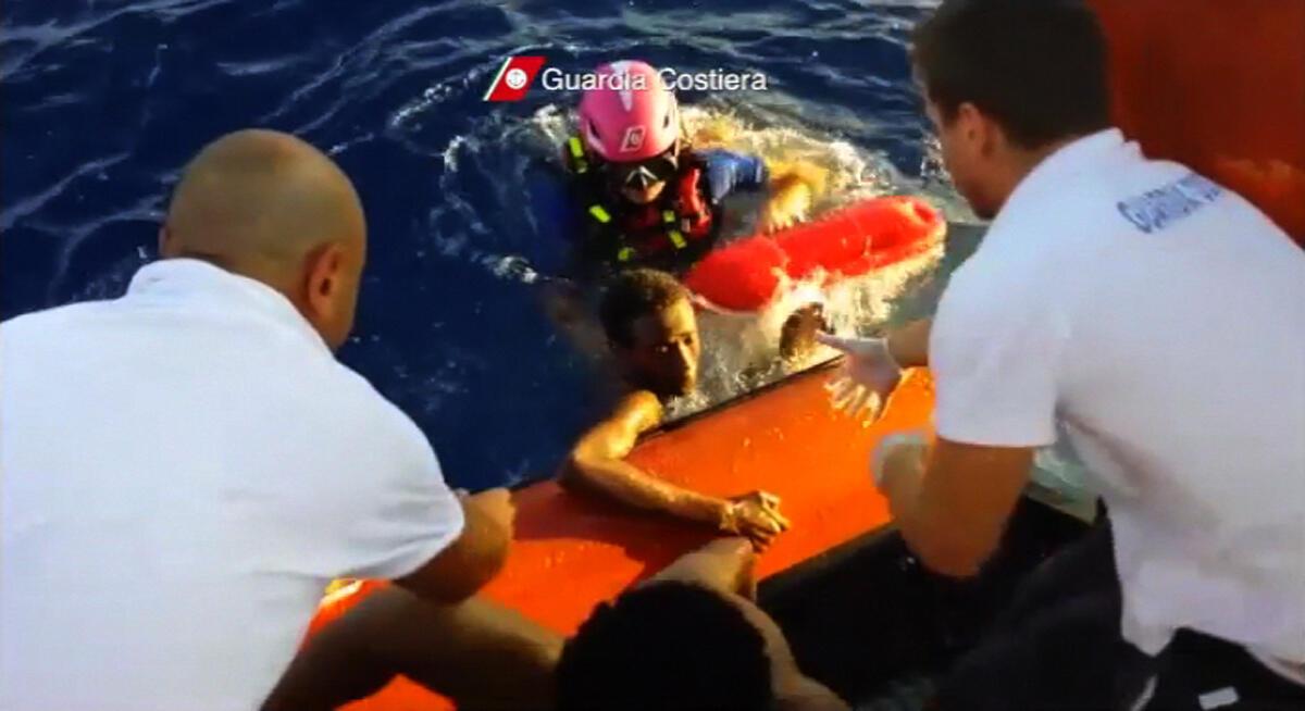 Sea rescue, survivors migrants arriving in Lampedusa, Sicily, Italy, in 2013