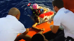 Sea rescue, survivors migrants arriving in Lampedusa, Sicily, Italy, in 2013