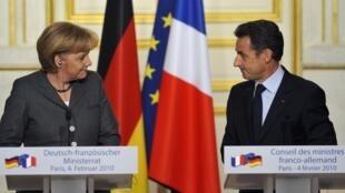 Sommet franco-allemand à l'Elysée, 4 février 2010 : Angela Merkel et Nicolas Sarkozy.