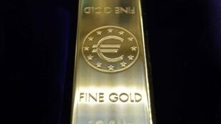 A gold bar with the euro sign at he European Central Bank's Euro Exhibition in Bucharest