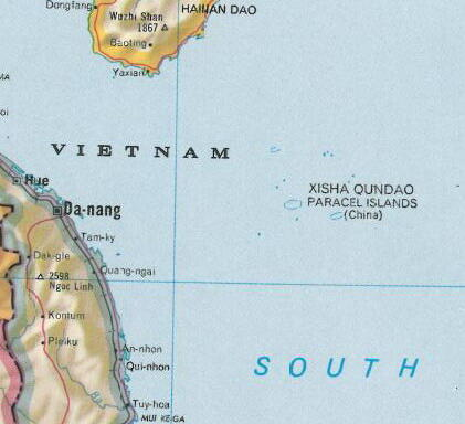 Quần đảo Hoàng Sa của Việt Nam bị chú thích là Xisha (Tây Sa) của Trung Quốc (DR)