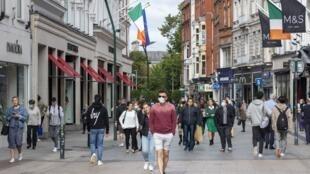 Dans les rues de la Dublin, le 18 septembre 2020.