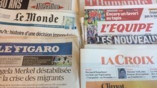 Primeiras páginas dos jornais franceses de 2 de julho de 2018