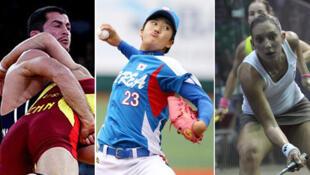 La lutte, le baseball et le squash (de gauche à droite) à la lutte pour les JO 2020.