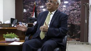 This photo taken on March 3, 2020, shows Saeb Erekat, secretary-general of the Palestine Liberation Organisation and chief Palestinian negotiator, talking to reporters in the West Bank city of Ramallah