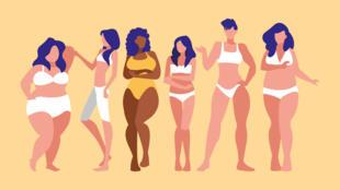 Femmes-de-différentes-tailles-et-races-de-modélisation-sous-vêtements