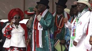Le président du Nigeria Goodluck Jonathan, lors d'un meeting électoral à Yenagoa, le 6 février 2015.