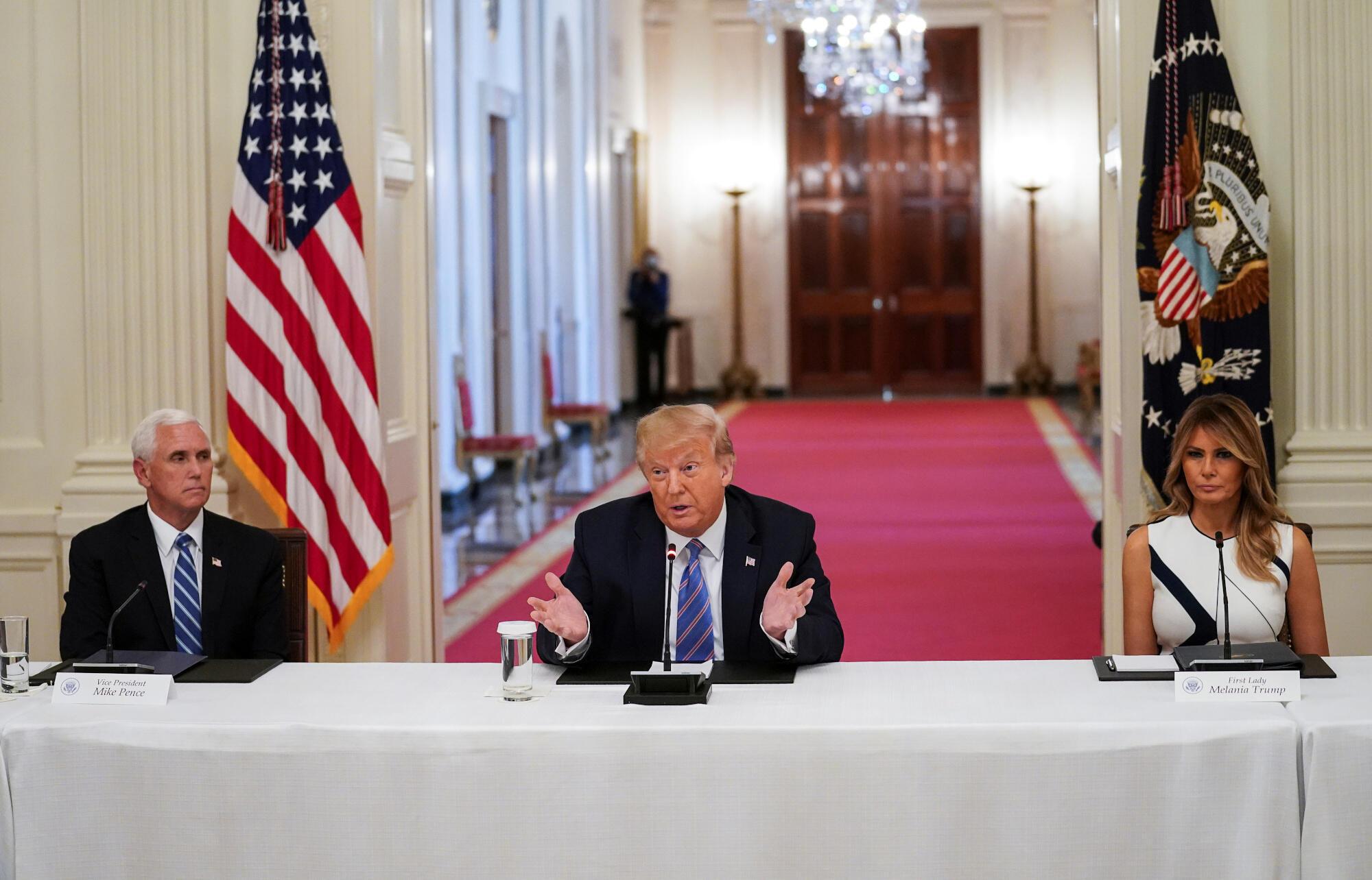 Le président américain Donald Trump, lors d'un évènement consacré à la réouverture des écoles, à la Maison Blanche à Washington DC, le 7 juillet 2020.