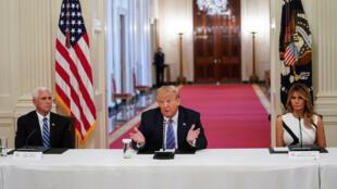 Le président américain Donald Trump lors d'un événement consacré à la réouverture des écoles à la Maison Blanche à Washington DC, le 7 juillet 2020.