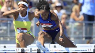 L'Américaine Brianna McNeal lors de la demi-finale du 100 m haies des Mondiaux en salle, à Des Moines dans l'Iowa, le 27 juillet 2019