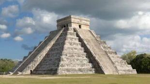 A Mayan stepped pyramid