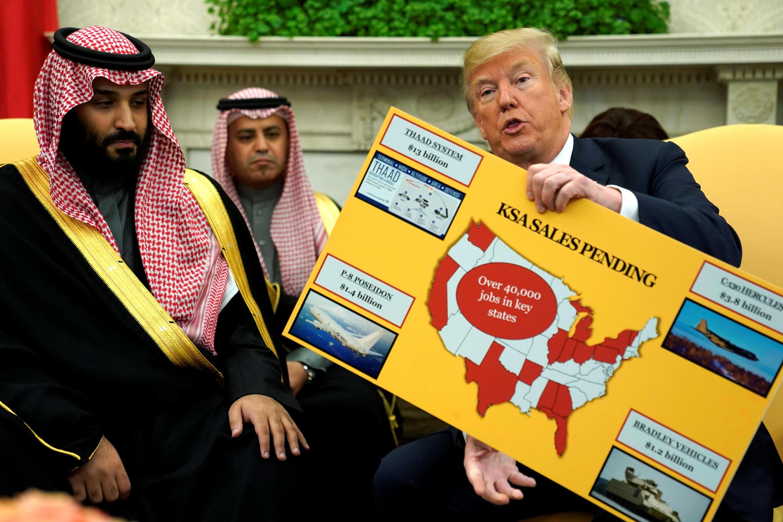 Hoàng tử kế vị Ả Rập Xê Út trong buổi gặp tổng thống Mỹ Donald Trump tại Nhà Trắng ngày 20/03/2018.