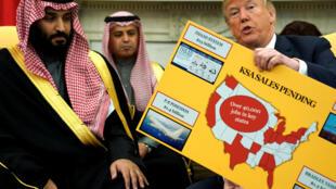 Tổng thống Mỹ Donald Trump tiếp thái tử Ả Rập Xê Út Mohammed bin Salman tại Nhà Trắng, Washington, 20/03/2018.