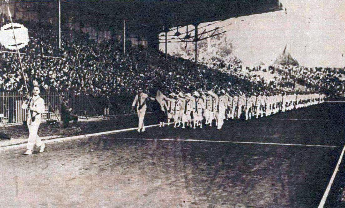 La délégation française aux Jeux Olympiques d'été de 1924 à Paris.