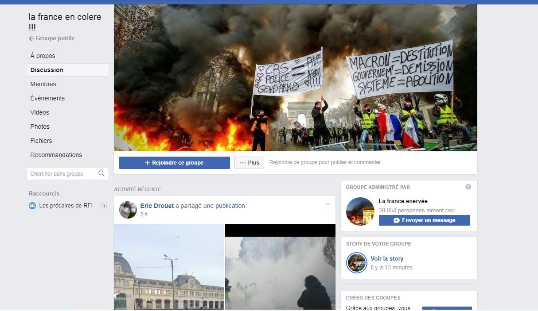 Ảnh chụp màn hình trang Facebook của «La France en colère !!!» (Nước Pháp nổi giận!!!)