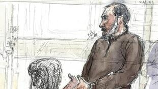 A courtroom sketch of Djamel Beghal during an appeal hearing in 2014