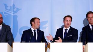 Le président français Emmanuel Macron (au centre à gauche) et le Premier ministre Xavier Bettel ont affiché leur complicité et leur convergence de point de vue, ce 6 septembre 2018.