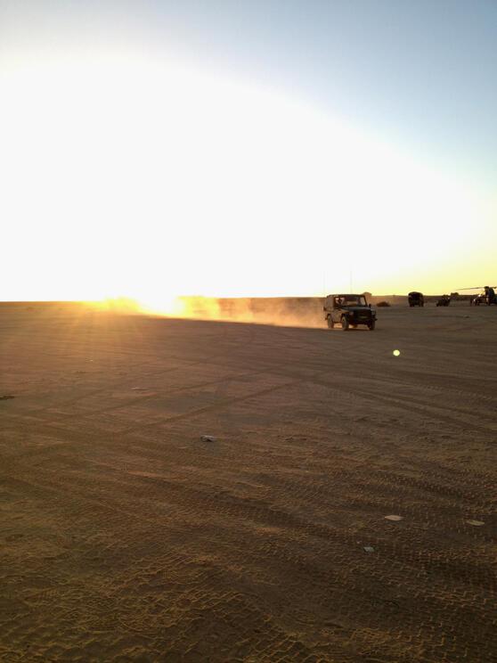 Tessalit. Camp militaire d'Amachach. Zone d'atterrissage des hélicoptères de combats.