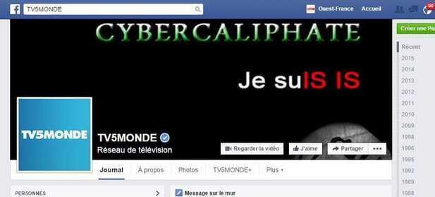 TV5Monde's Facebook hacked by individuals claiming to belong to the Islamic State group. Screen capture.