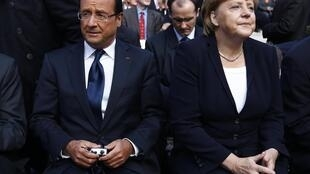 O presidente francês, François Hollande e a chanceler alemã, Angela Merkel encontram-se nesta quinta-feira com chefes de Estado e de Governo da UE em Bruxelas.