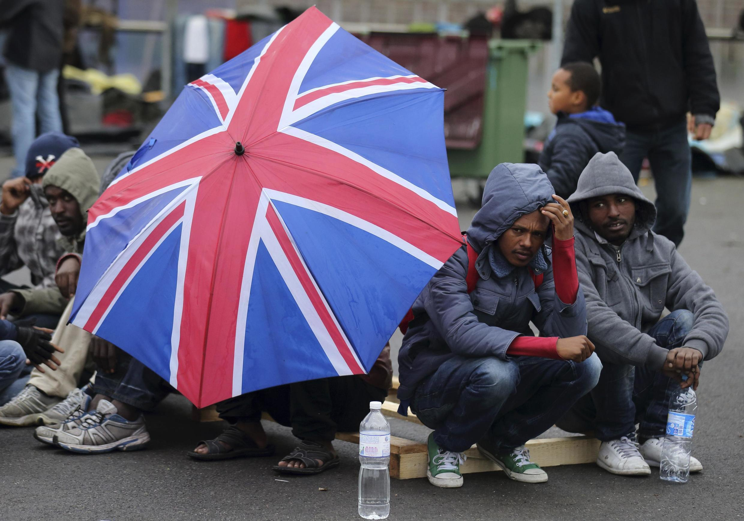 Eritrean migrants in Calais hoping to cross the Channel.