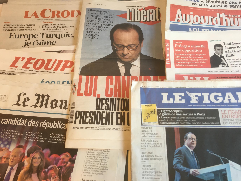 Primeiras páginas dos jornais franceses de 04 de maio de 2016