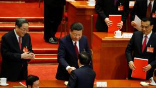 中國全國人大會場,3月15日。