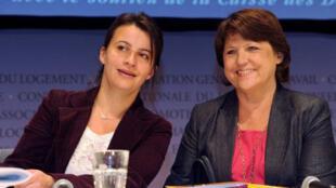 Cécile Duflot, secrétaire générale d'Europe-Ecologie-Les-Verts et Martine Aubry, première secrétaire du PS.