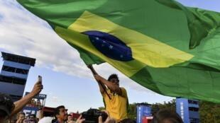Les supporters brésiliens, lors du 16e de finale de la Coupe du monde de Russie 2018 entre le Brésil et le Mexique, le 2 juillet 2018.