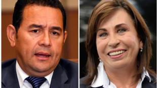 Les deux candidats en lice pour le second tour de l'élection présidentielle au Guatemala : Jimmy Morales (G) et Sandra Torres.