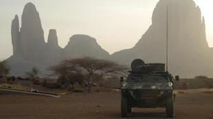 An armoured vehile of the Barkane force on patrol in Mali.