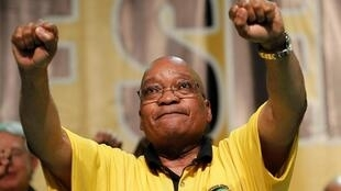 South Africa's President Jacob Zuma dances after delivering his address at the National General Council of his ruling ANC