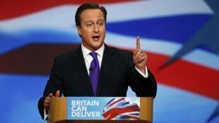 Le Premier ministre et chef du parti conservateur, David Cameron, lors d'un discours au Congrès du parti. Londres, le 10 octobre 2012.